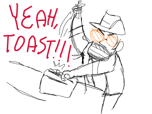Sniper is playing a toaster as a drum and is screaming &quote;YEAH TOAST!!!&quote;