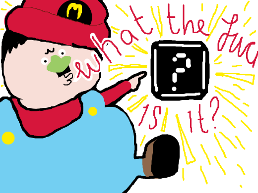 A guy looking a black 'question mark' block from mario. He asks, &quote;WTF is it?&quote;