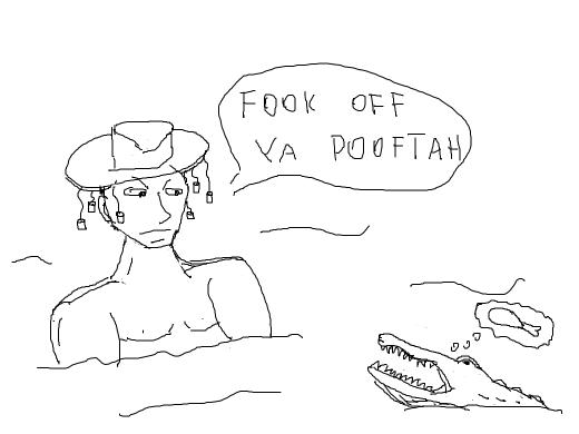 Naked man tells alligator in pond to fook off. Alligator thinks the the naked man looks tasty.