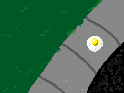 A Egg cooks on the side walk.