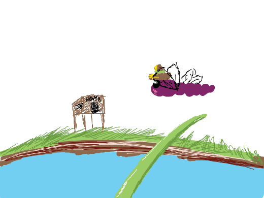 A dragonfly in a sombrero heads toward home