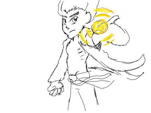 Some kind of anime athletic boy raises one hand w/ open fingers producing an extremely bright yellow light. Two tails of his clothing flap.