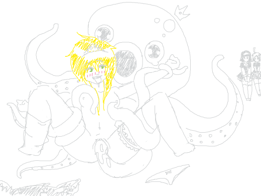 an octopus has sex with a blonde woman and caresses her breasts as two other women wait in line for their turn