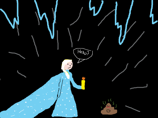Elsa arrives in a frosted cave, then gets turned into a turd.