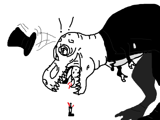 A dapper T-Rex has just eaten someone. Sadly he has lost his top hat in the process.