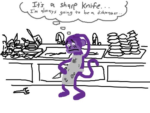 purple monkey contemplates suicide