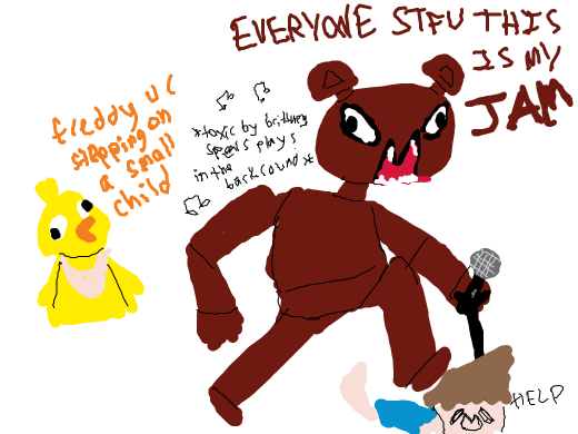Freddy Fazbear wants every one to quiet their noisemakers/ pie holes.