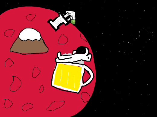 greek ruins on mars with a pea with a face on top of a column and an astronaut on top of a giant beer in front of a mountain