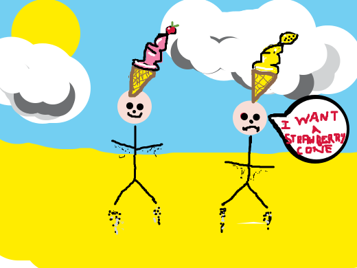 stick men who with iscream cones on their heads. One strawberry and one yellow...? the yellow one says he wants strawberry