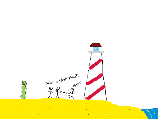 Uh...A...lighthouse, and three guys, and one of those segmented guys you see in the desert levels in Mario. Maybe.