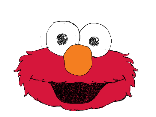 I drew a fire breathing Elmo a minute ago, but I forgot to draw his nose. Please draw Elmo's nose for me.