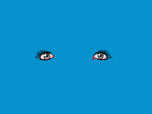 painful eyes against a blue backdrop.