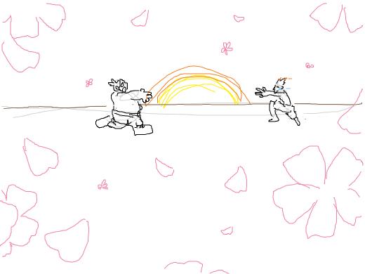 Junkrat and Roadhog greet each other lovingly