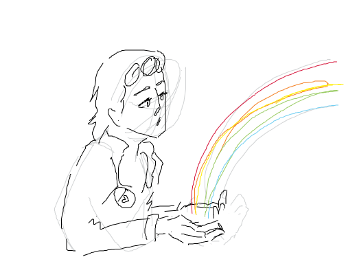 Giorno's holding a rainbow.