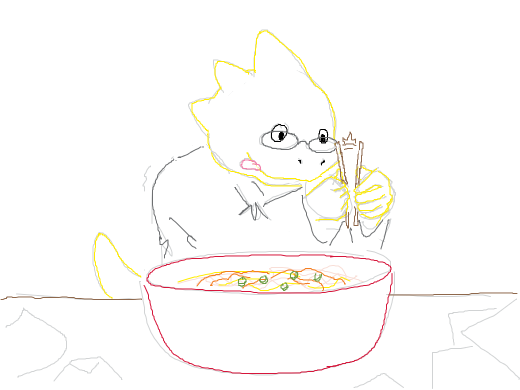 Alphys splits apart a pair of disposable bamboo chopsticks as she prepares to eat a bowl of... of... spaghetti/ramen!?