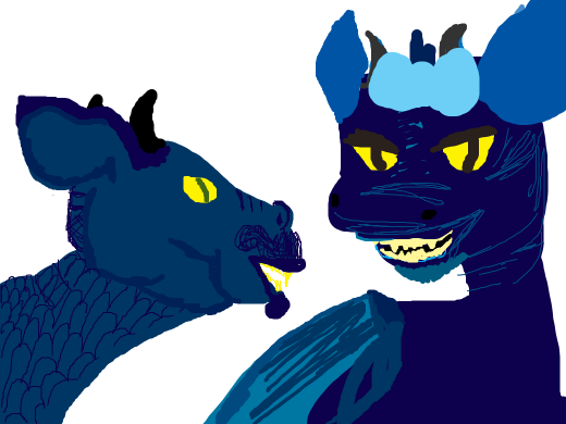 Two blue dragons