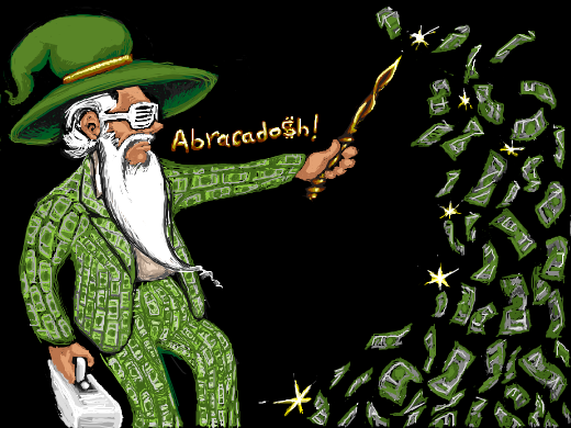 A neo-silly conjures money with his magic wand