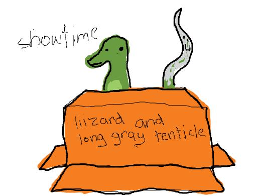 liizard and long gray tenticle