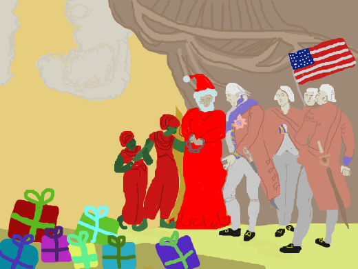 santa is being held hostage by confederate soldiers waving the modern us flag