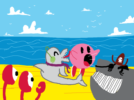 A crab and a pirate whale watches a dolphin lick a sucker. The dolphin is wearing earmuffs and a scarf.
