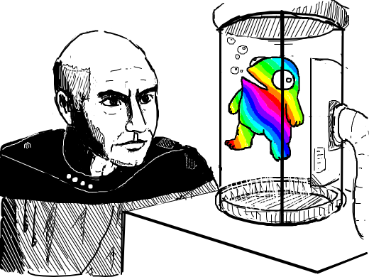 bald picard looks at tiny rainbow man