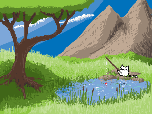 A fishing pond in the rolling green hills.