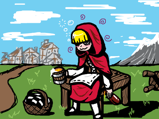 Little Red Riding Hood sitting at a table outside of her village, drinking beer.