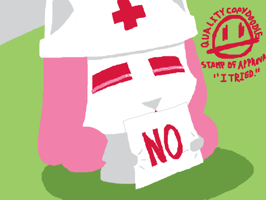 Nurse OC holds up a sign that says &quote;NO&quote;