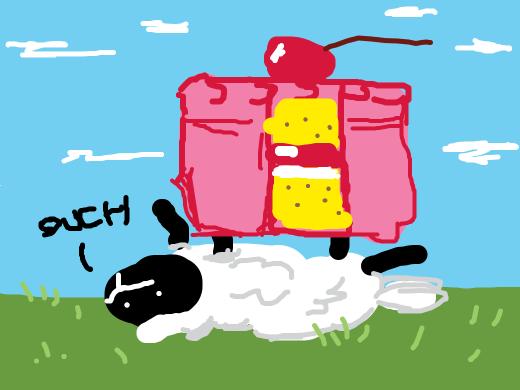 a cake sitting on a sheep