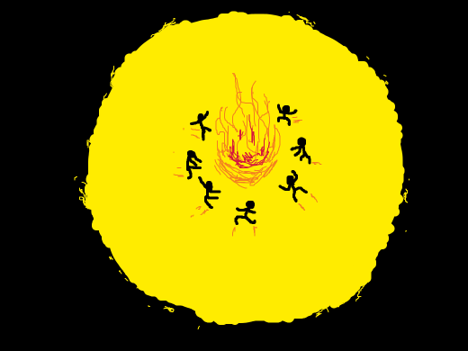 stick figures dance around a pit of fire in the sun