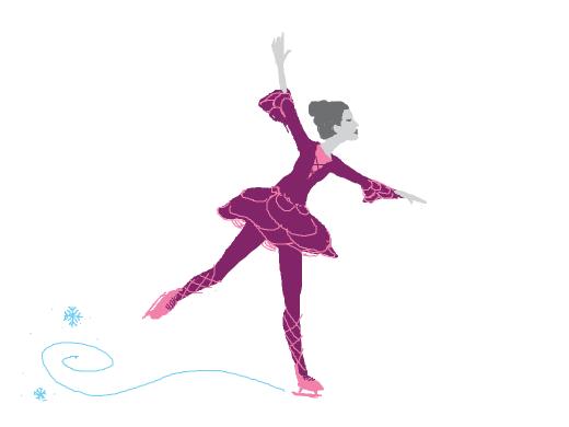lilac ice skating dress, rose petal like skirt