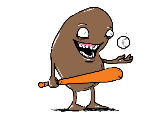 A manic bean playing baseball