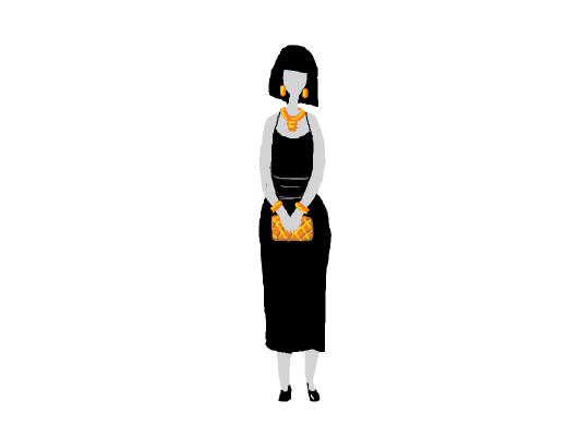 black sleeveless dress, sheer layer over it that gets longer towards the back. wide black belt; gold earrings, necklace, belt & bracelet
