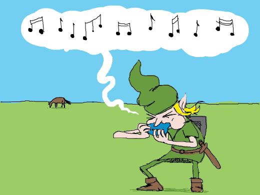 Link trying to call epona with his ocarina. Epona does not give a damn.