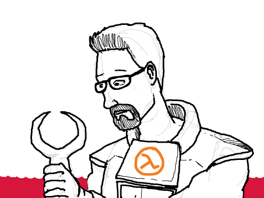 A red tap or gordon freeman's claw over red water