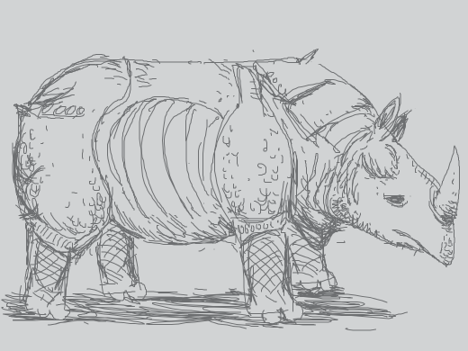 Rhino with a ton of line work on it, almost like really intricate chain maille