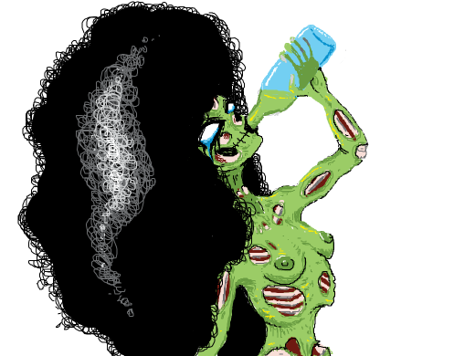 sad ghoul gal with a rly rad afro cries as she sips on a bottle of absinthe.
