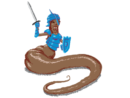 bootyful serpent girl with blue armor