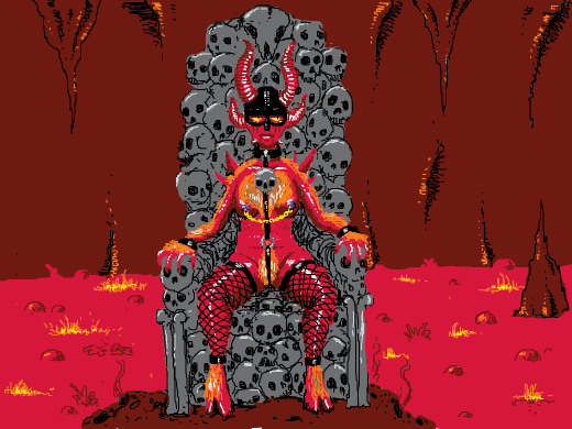 Boss-ass demon queen sitting on a hell rock. (And thinking fondly about something. Maybe the coming season of Game of Thrones?)