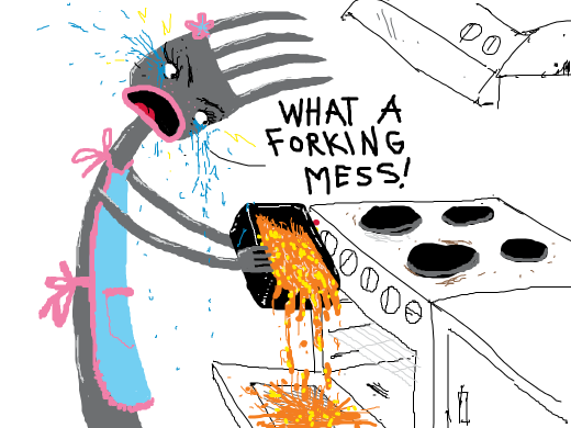 A fork girl spills her casserole. She proclaims &quote;WHAT A FORKING MESS&quote; as she weeps angrily.