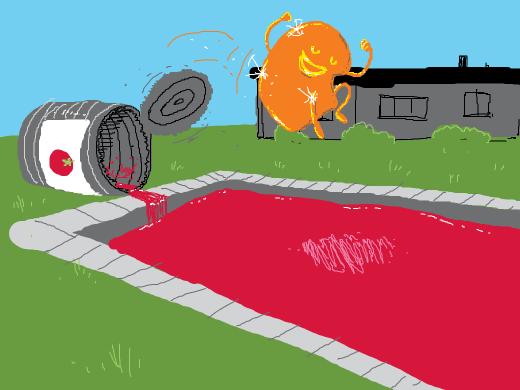 goldbar jumping into a pool of tomatojuice