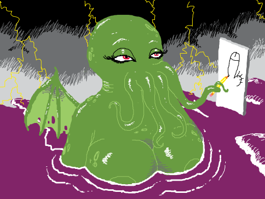 cthulu drawing with the tentacles on its mouth