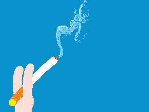 Smoke girl is born from a cigarette