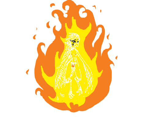 Harpy woman enthroned in orange flame relaxes.