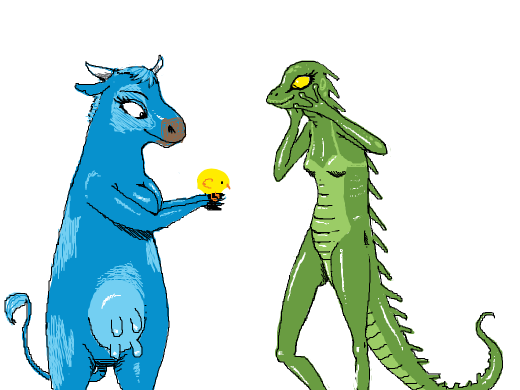 A blue cow girl shows a lizard girl her chicken