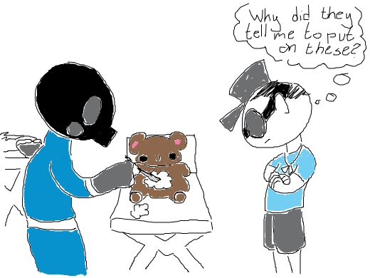 Pyro is in middle of a medical procedure. A teddybear is the patient. Scout is the witness. The suspense is unbearable! D: