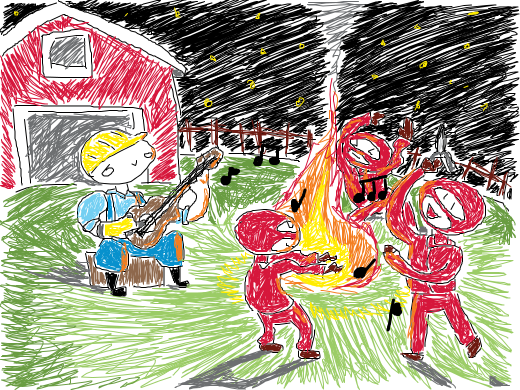 3 red spies are dancing while a blu engie plays the guitar happily near a fire,at night with the sky full of stars (this is beautiful! owo )