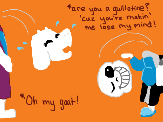 Toriel making bad puns with Sans and laughing their heads