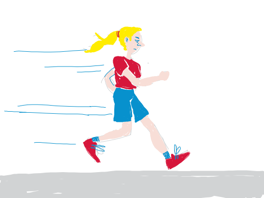 blonde girl running