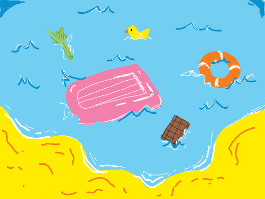 Assorted beach things in the water. Life preserver, rubber ducky life preserver, inflatable raft, celery, chocolate bar.